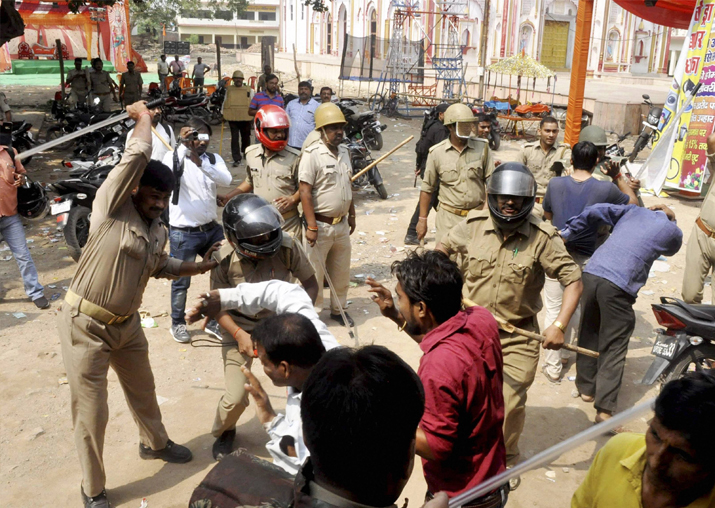 Police lathi-charge during a clash between two communities