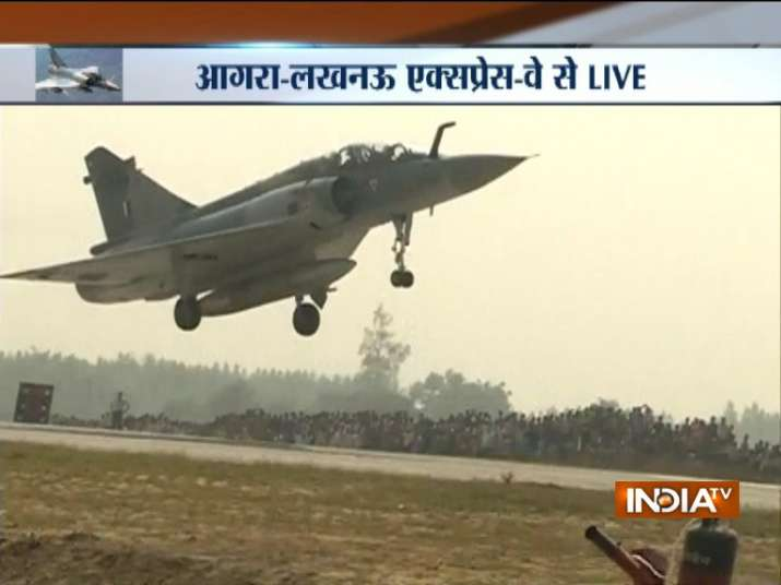 India Tv - Mirage 2000 fighter jets land on Lucknow-Agra Expressway in special drill