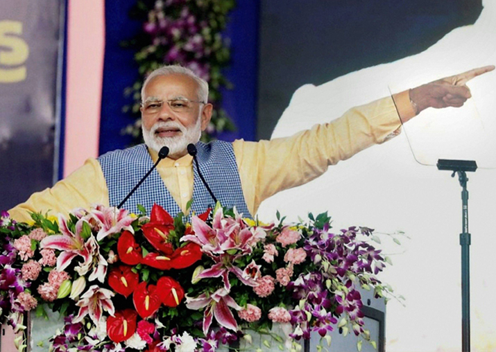 Prime Minister Narendra Modi addressing a public meeting in