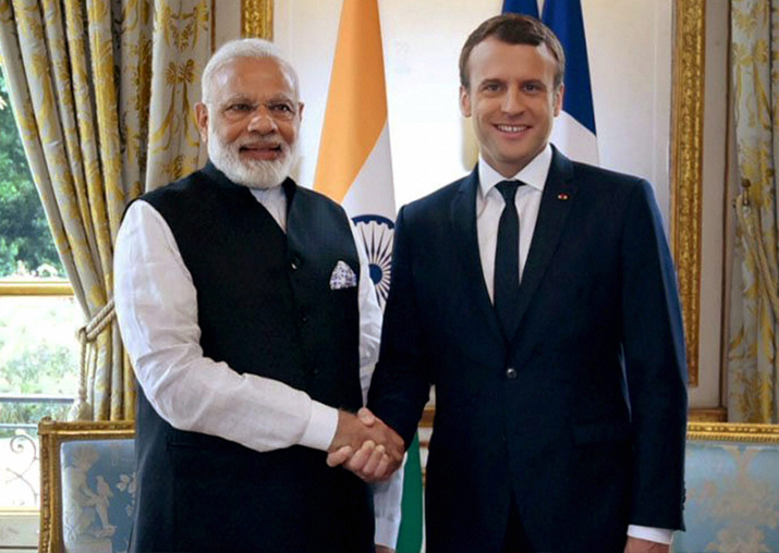 File pic - PM Narendra Modi and French President Emmanuel