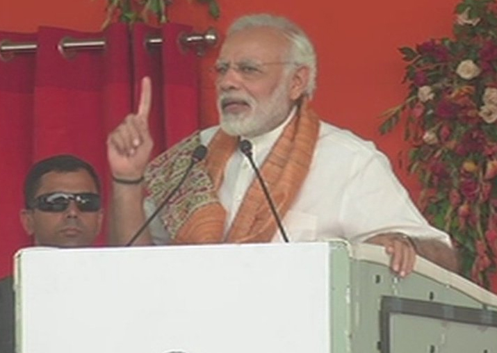 PM Modi addressing a public meeting in Mokama