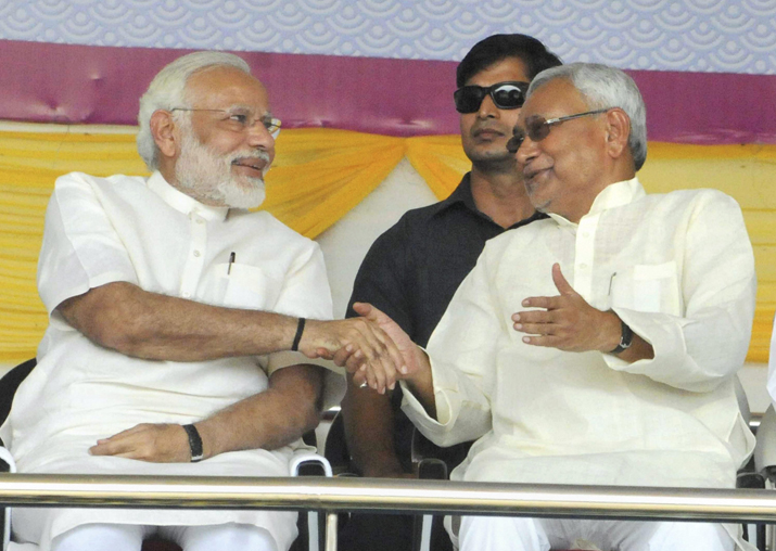 PM Modi with Nitish Kumar at the Centenary Celebrations of