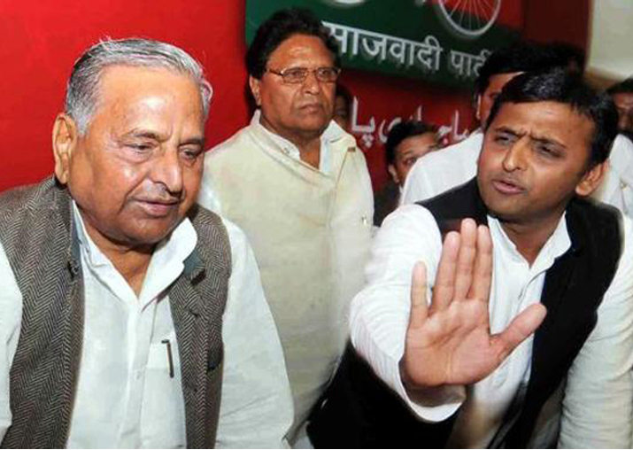 File pic - Akhilesh Yadav meets Mulayam after getting