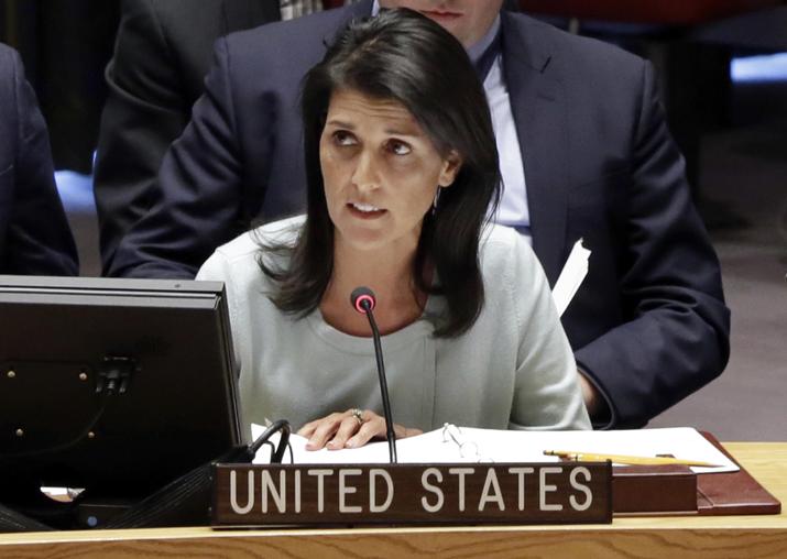 File pic - US Ambassador to the UN Nikki Haley