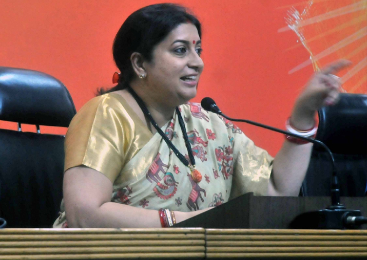 File pic of Smriti Irani