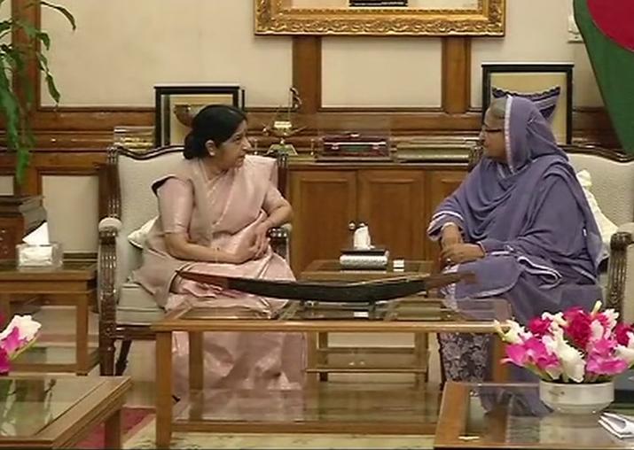 Sushma Swaraj meets Bangladesh PM Sheikh Hasina in Dhaka