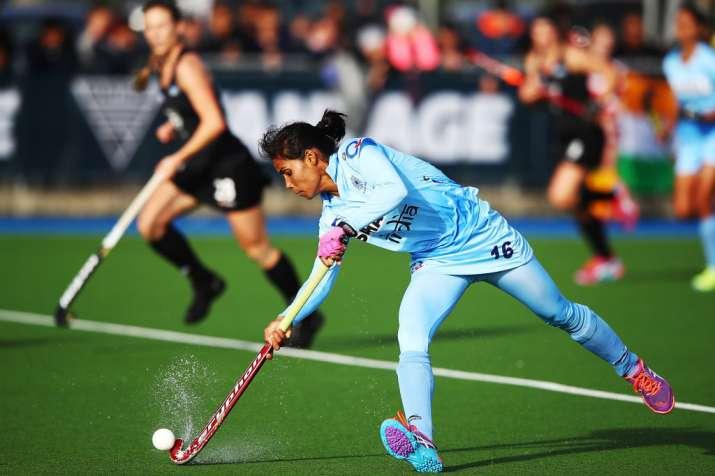A file image of Vandana Katariya of India in action