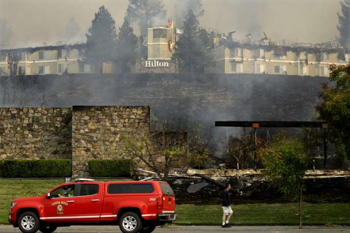 India Tv - Fire burns at a Hilton hotel on Monday in Santa Rosa, California