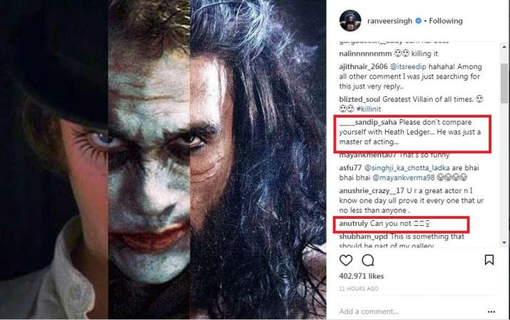 India Tv - Ranveer Singh trolled for his juxtaposed picture with Hollywood legend Heath Ledger