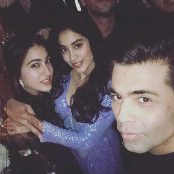 India Tv - Jhanvi Kapoor and Sara Ali Khan with Karan Johar
