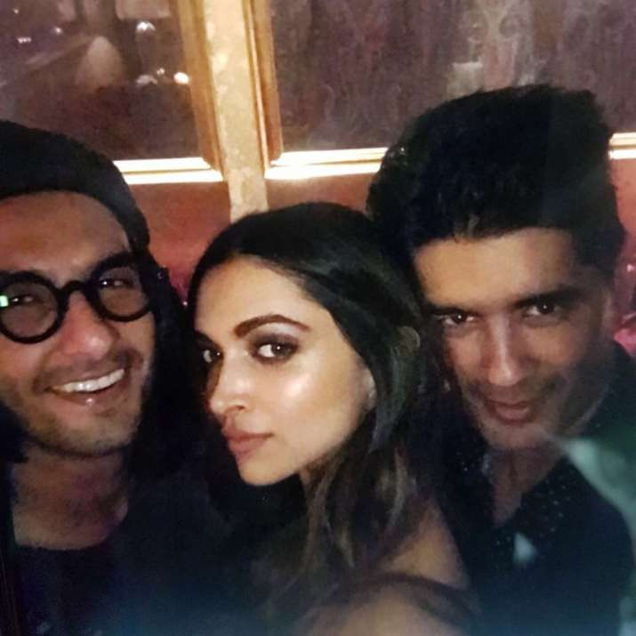 India Tv - Ranveer Singh, Deepika Padukone and Manish Malhotra
