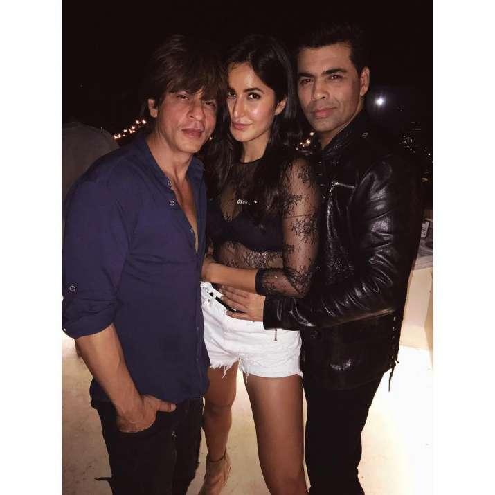 India Tv - Katrina Kaif poses with Shah Rukh Khan and Karan Johar