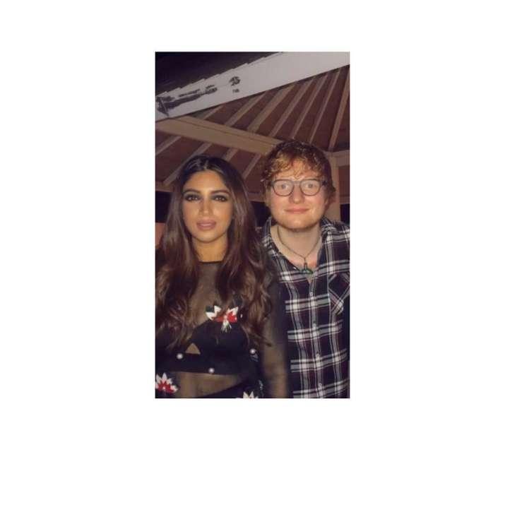 India Tv - Bhumi Pednekar posing with Ed Sheeran at party