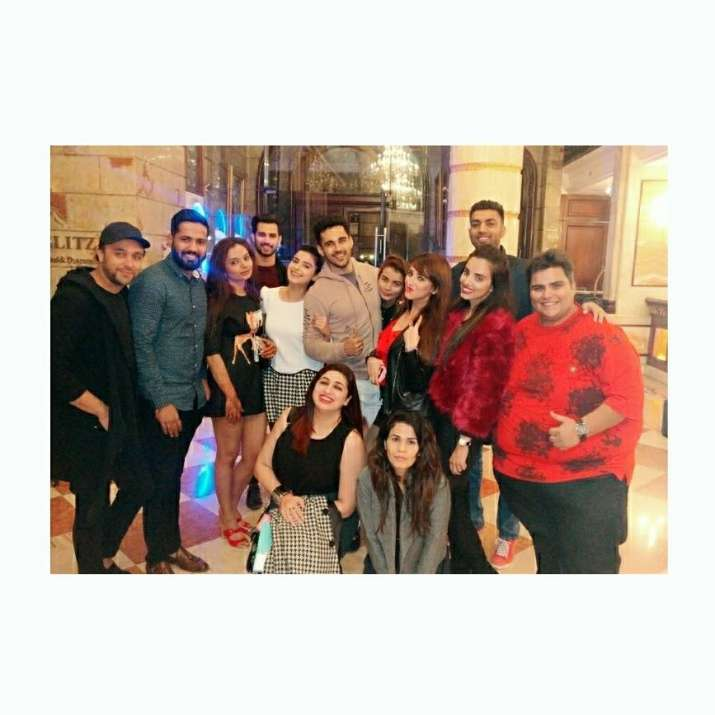India Tv - Groom Abhishek Bajaj with friends at Sangeet ceremony
