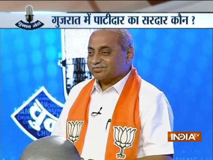 Nitin Patel on stage at Chunav Manch, India TV's mega