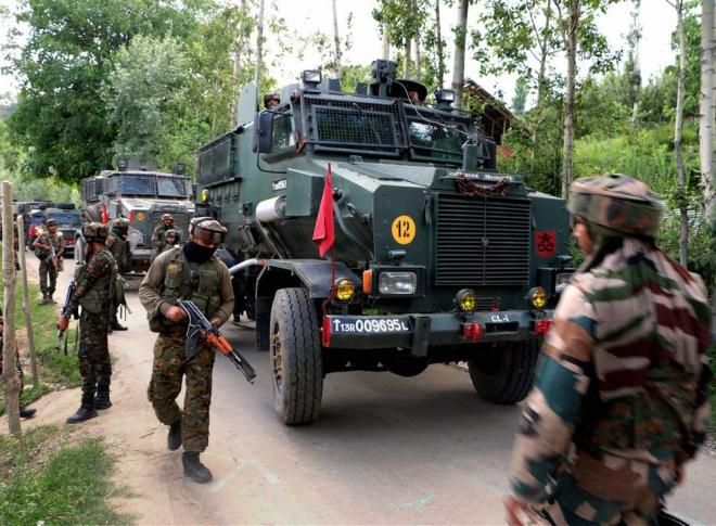 An Army vehicle during an encounter in Jammu and Kashmir