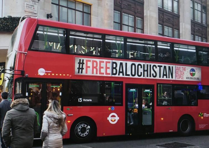 'Free Balochistan' ads appear on London buses