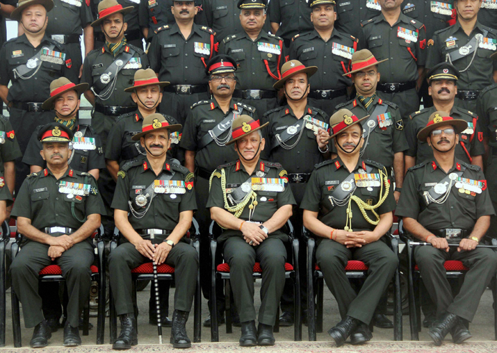 General Bipin Rawat along with soldiers of 9 Gorkha Rifles