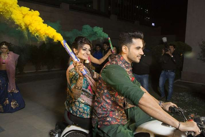 India Tv - Abhishek Bajaj making a stylish entry at Sangeet party with wife-to-be Akanksha