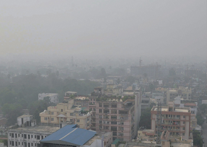 View of the city enveloped by heavy smog in Patna on