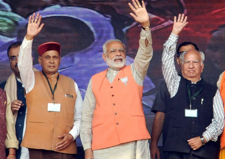 PM Modi, chief ministerial candidate PK Dhumal and senior