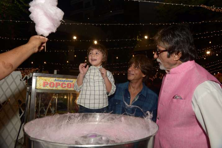 India Tv - Abram, Shah Rukh Khan and Amitabh Bachchan