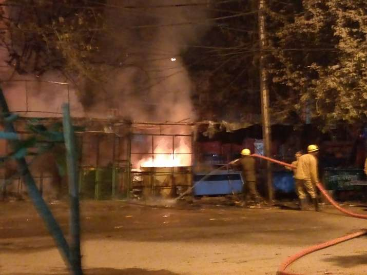 India Tv - The blaze was contained before it could spread beyond the row of kiosks.