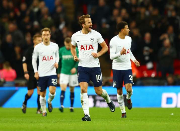 India Tv - Spur's Harry Kane celebrates after equalising the score.