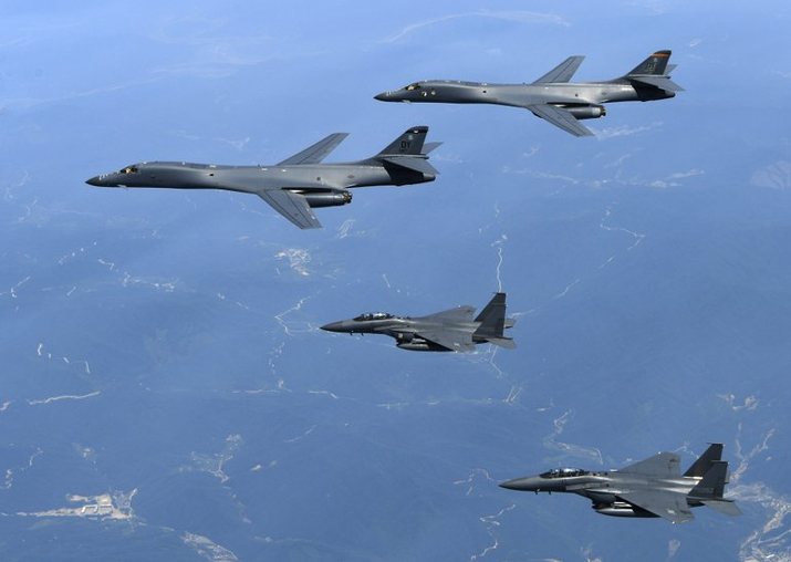 File - US Air Force B-1B bombers and South Korean fighter