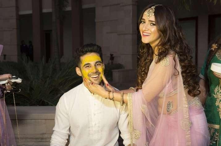 India Tv - Abhishek Bajaj at his Haldi ceremony