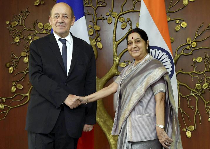 Sushma Swaraj meets Jean-Yves Le Drian in New Delhi on