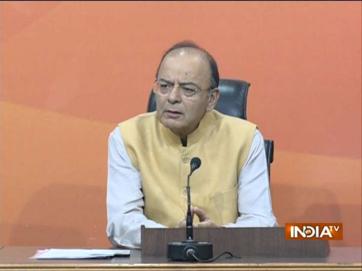 Finance Minister Arun Jaitley addressing a press conference