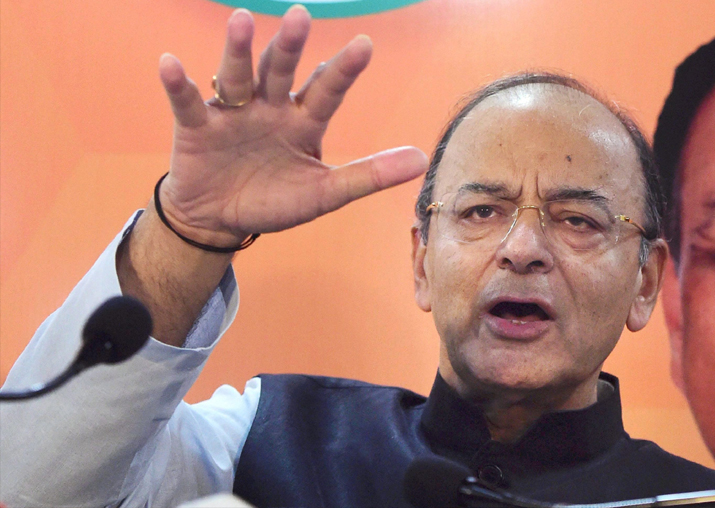 Arun Jaitley addresses a press conference in Amedabad