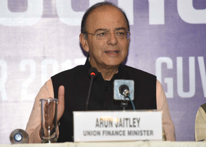 Arun Jaitley addresses a press conference after attending