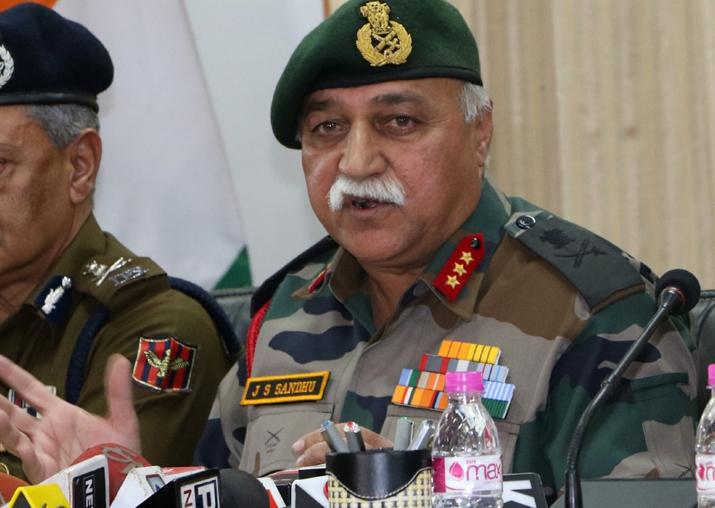 Lt General J.S. Sandhu addresses a press conference in