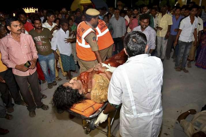 An injured being taken to a hospital in Vijayawada after an