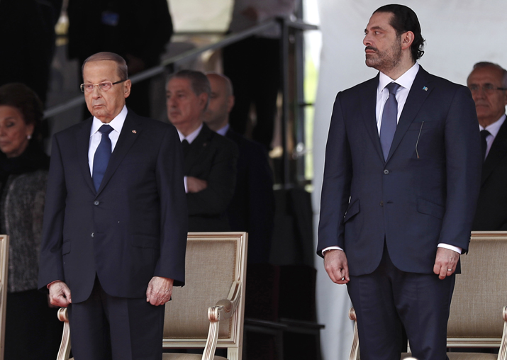 Lebanese President Michel Aoun and PM Saad Hariri attend a