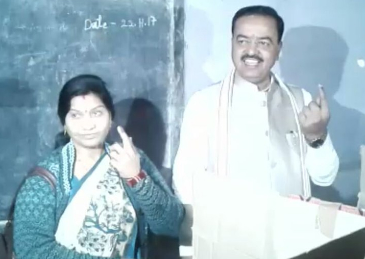 India Tv - Keshav Prasad Maurya & wife Rajkumari Devi cast their votes in Allahabad