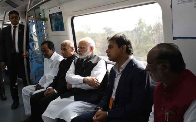 PM Modi inaugurates Hyderabad Metro, takes first rid