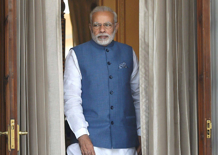 Prime Minister Narendra Modi at Hyderabad House in New Delhi