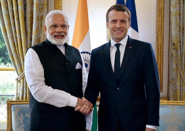 File pic - PM Modi and French President Macron