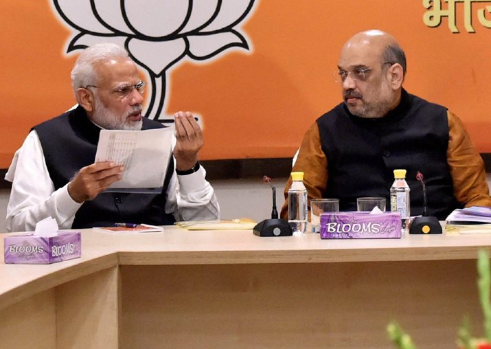File pic of PM Modi and Amit Shah at BJP HQ in New Delhi