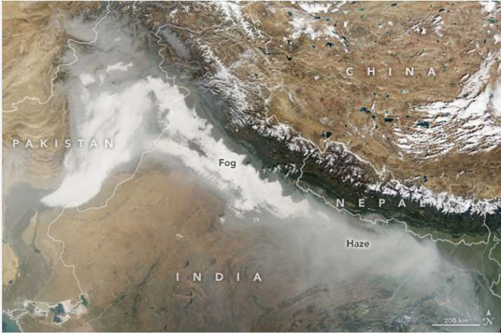 India Tv - Image captured by Terra satellite shows thick haze over the region on November 8