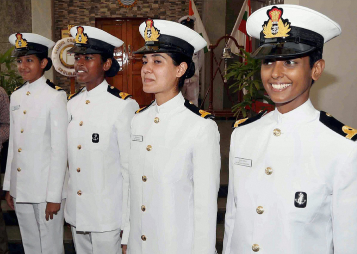 Women cadets who were inducted into the Indian Navy at