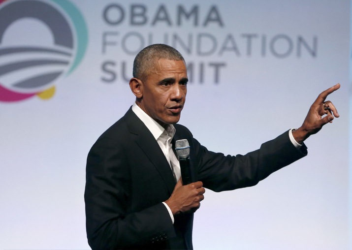 Barack Obama addresses the crowd as the last speaker at the