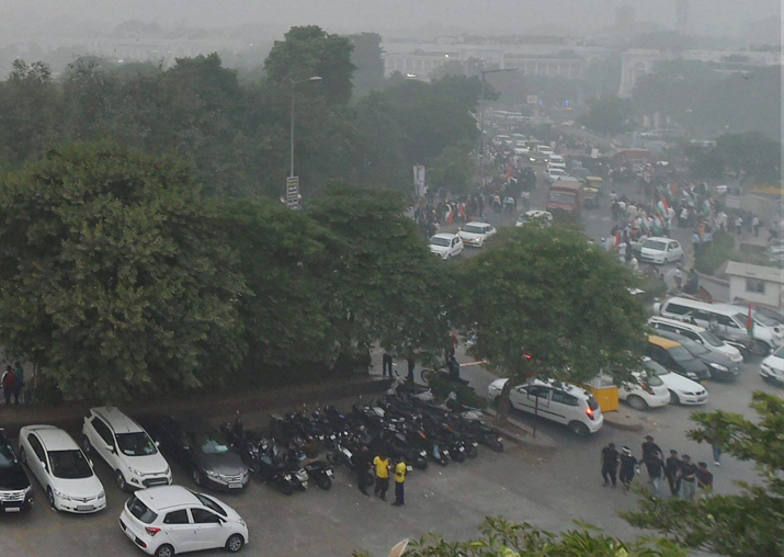 View of the Central Park at Rajiv Chowk, enveloped by heavy