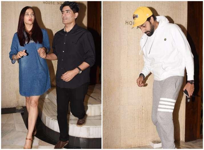 Aishwarya Rai Bachchan with husband Abhishek at Manish