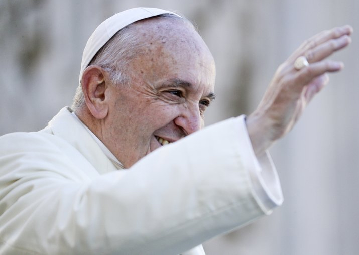 Pope Francis arrives for his weekly general audience, in