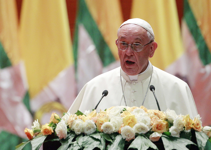 Pope Francis delivers a speech during a meeting with