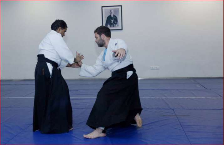 India Tv - Rahul Gandhi practicing Aikido
